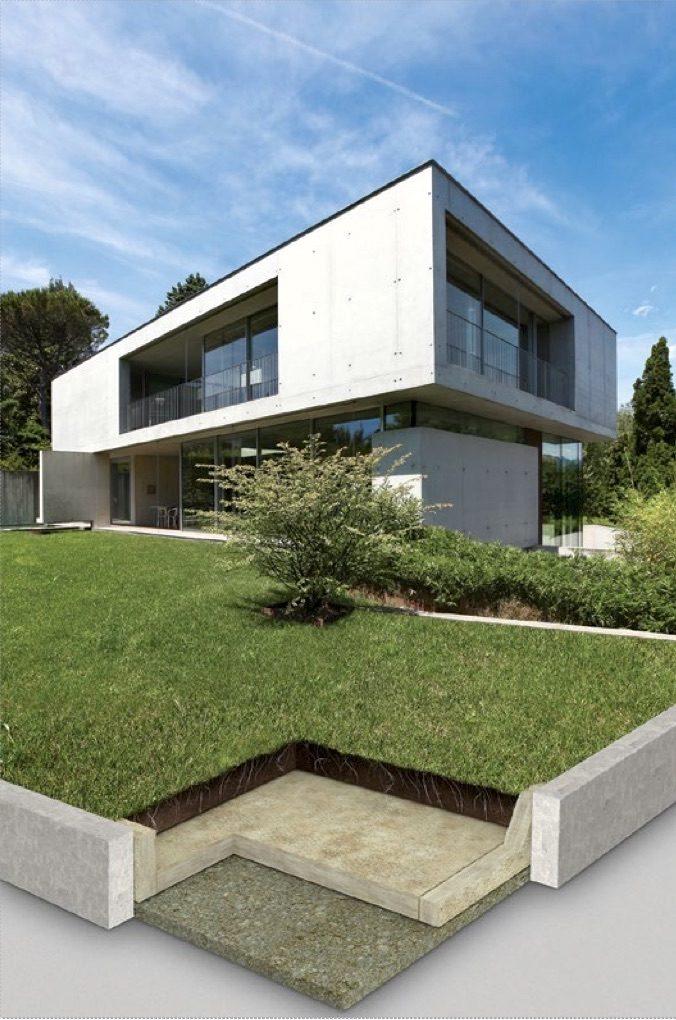 Inbouw green rolls in het gazon bij een mooi modern huis