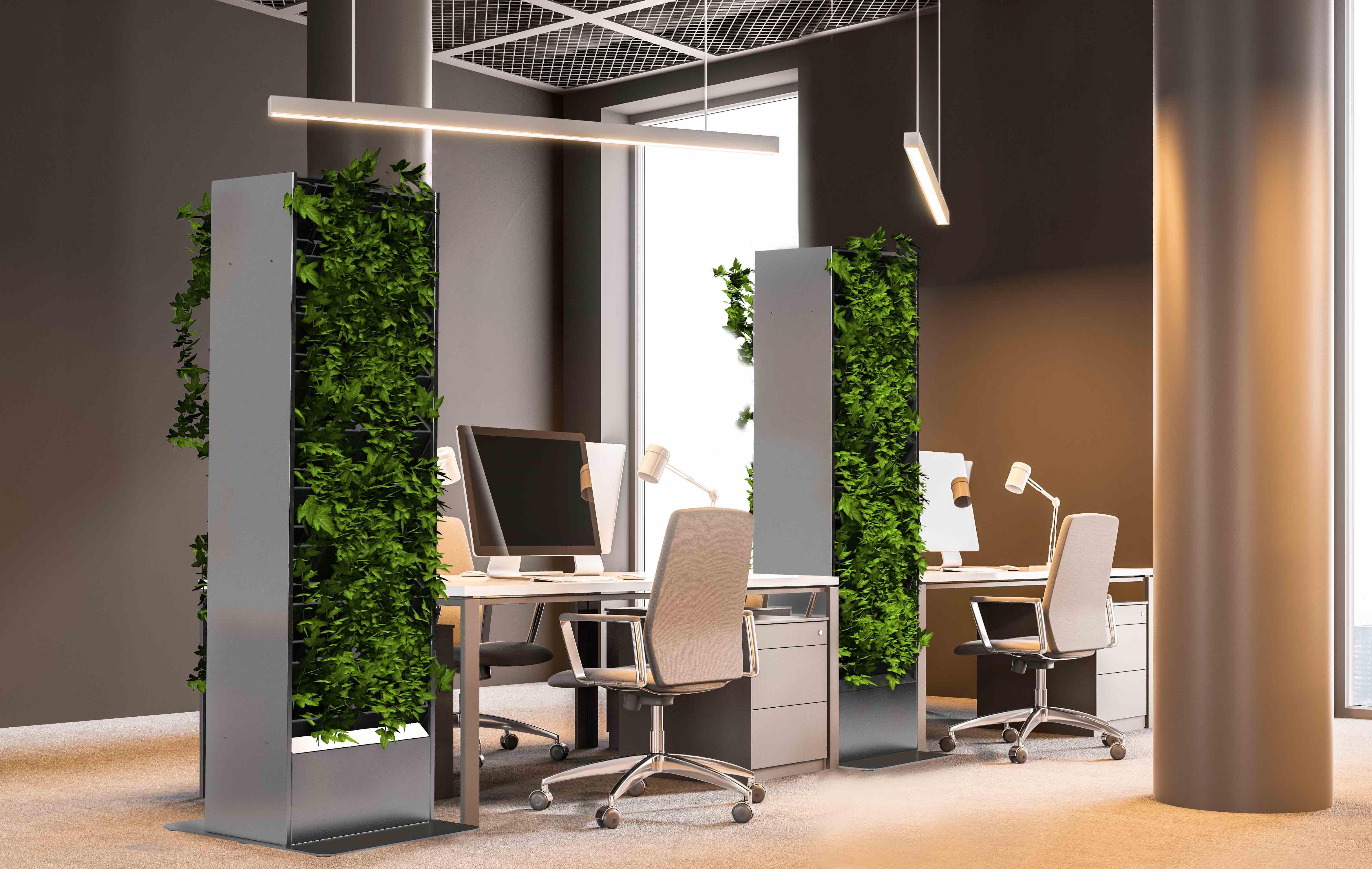 Living Board plantenzuil, groene wand voor plaatsing in leefruimten en burelen.