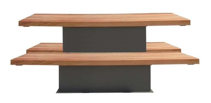 Tuintafel met zitbanken. Strak design voor tuin, terras en dakterras.