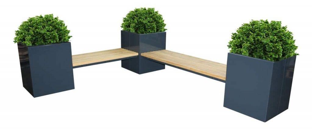 Bloembak met geïntegreerde zitbank voor de moderne terrasinrichting.