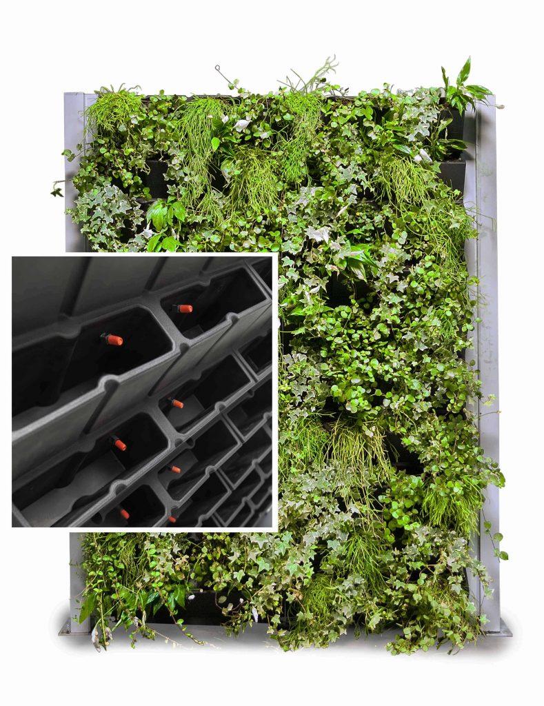Verticale groene wand met irrigatiesysteem